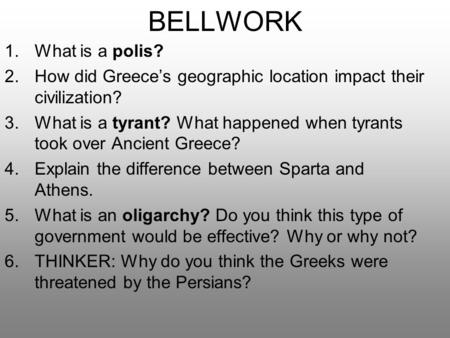 BELLWORK What is a polis?