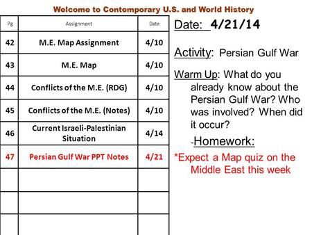 Activity: Persian Gulf War