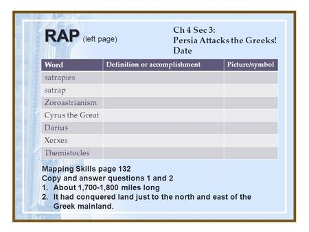 RAP (left page) Ch 4 Sec 3: Persia Attacks the Greeks! Date Word