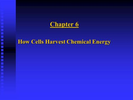 Chapter 6 How Cells Harvest Chemical Energy. BREATHING VERSUS RESPIRATION n BREATHING: u Alternation of inhalation and exhalation. u Exchange of gases.