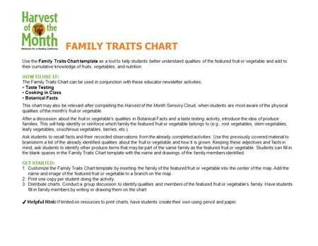 Use the Family Traits Chart template as a tool to help students better understand qualities of the featured fruit or vegetable and add to their cumulative.