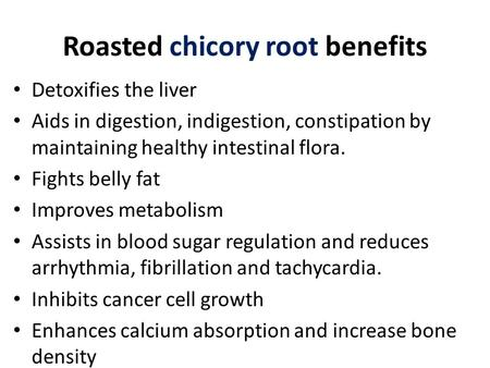 Roasted chicory root benefits Detoxifies the liver Aids in digestion, indigestion, constipation by maintaining healthy intestinal flora. Fights belly fat.