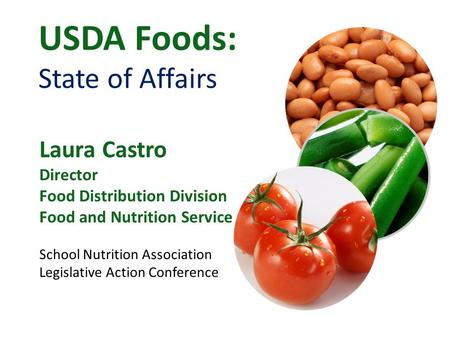 USDA Foods: State of Affairs Laura Castro Director Food Distribution Division Food and Nutrition Service School Nutrition Association Legislative Action.