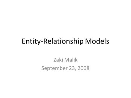 Entity-Relationship Models