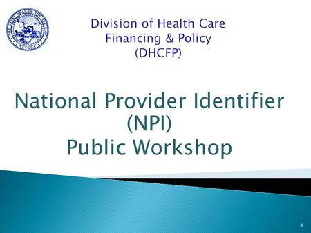 National Provider Identifier (NPI) Public Workshop 1.