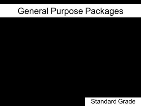 General Purpose Packages Standard Grade. Lesson Objectives The difference between Application and General Purpose Packages Types of GPP Common Features.