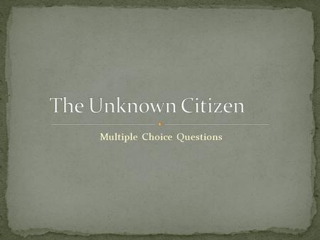 the unknown citizen analysis pdf