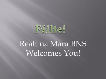 Realt na Mara BNS Welcomes You!. As told by the Fifth Class of Réalt na Mara Boys' National School, Donacarney, Mornington, County Meath.