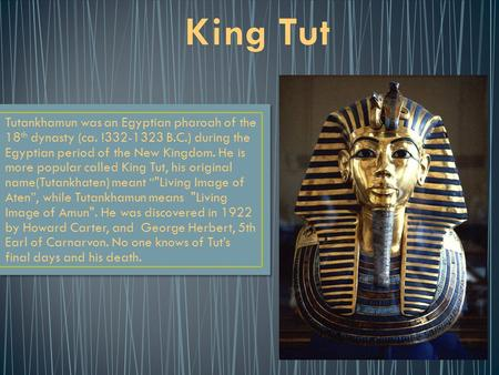 Tutankhamun was an Egyptian pharoah of the 18 th dynasty (ca. !332-1323 B.C.) during the Egyptian period of the New Kingdom. He is more popular called.