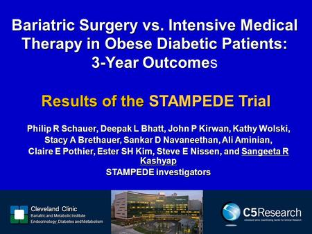 Bariatric Surgery vs. Intensive Medical Therapy in Obese Diabetic Patients: 3-Year Outcome Bariatric Surgery vs. Intensive Medical Therapy in Obese Diabetic.