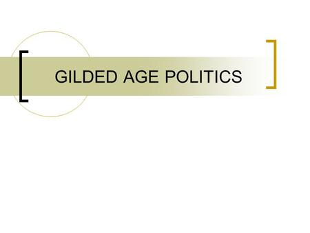 "GILDED AGE POLITICS. ""GILDED AGE"" 1869-1900 Term coined by Mark Twain in 1873 Referred to the superficial glitter of the new wealth, but internal corruption."