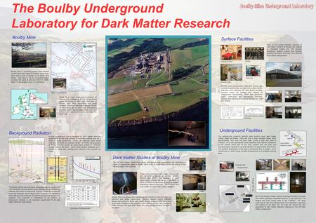 Underground Facilities Stub 2 Stub 2a,3 'H' Area JIF Area The underground research facilities have evolved since dark matter studies began at Boulby. There.