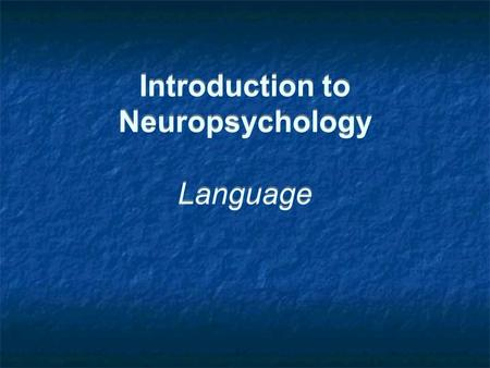 Introduction to Neuropsychology Language. Example Exam Questions 1. How have neuropsychological investigations informed our current understanding about.