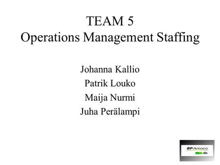 TEAM 5 Operations Management Staffing