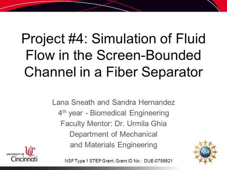 Project #4: Simulation of Fluid Flow in the Screen-Bounded Channel in a Fiber Separator Lana Sneath and Sandra Hernandez 4 th year - Biomedical Engineering.