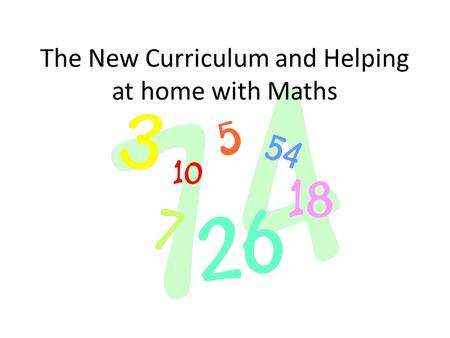 The New Curriculum and Helping at home with Maths.
