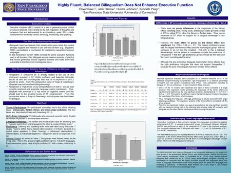 Highly Fluent, Balanced Bilingualism Does Not Enhance Executive Function Oliver Sawi 1,2, Jack Darrow 1, Hunter Johnson 1, Kenneth Paap 1 ; 1 San Francisco.