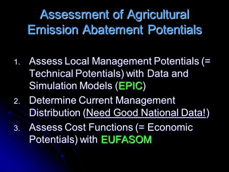 Assessment of Agricultural Emission Abatement Potentials 1. Assess Local Management Potentials (= Technical Potentials) with Data and Simulation Models.