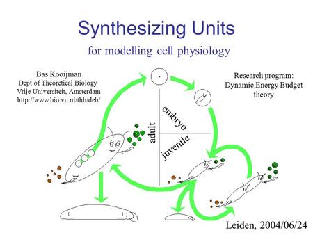 Synthesizing Units for modelling cell physiology Bas Kooijman Dept of Theoretical Biology Vrije Universiteit, Amsterdam  Leiden,