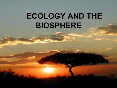 ECOLOGY AND THE BIOSPHERE. YOU MUST KNOW… THE ROLE OF ABIOTIC FACTORS IN THE FORMATION OF BIOMES FEATURES OF FRESHWATER AND MARINE BIOMES MAJOR TERRESTRIAL.