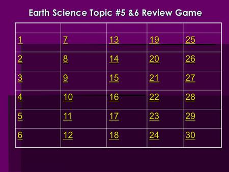 Earth Science Topic #5 &6 Review Game