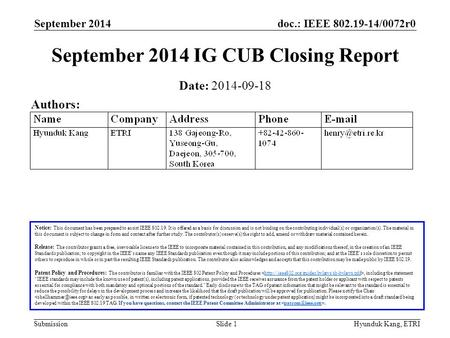 Doc.: IEEE 802.19-14/0072r0 Submission September 2014 Hyunduk Kang, ETRISlide 1 September 2014 IG CUB Closing Report Notice: This document has been prepared.