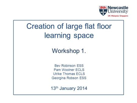 Creation of large flat floor learning space Workshop 1. Bev Robinson ESS Pam Woolner ECLS Ulrike Thomas ECLS Georgina Robson ESS 13 th January 2014.