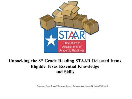 Unpacking the 8 th Grade Reading STAAR Released Items Eligible Texas Essential Knowledge and Skills Questions from Texas Education Agency Student Assessment.