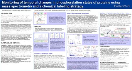 Monitoring of temporal changes in phosphorylation states of proteins using mass spectrometry and a chemical labeling strategy RESULTS INTRODUCTION It is.