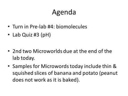 Agenda Turn in Pre-lab #4: biomolecules Lab Quiz #3 (pH) 2nd two Microworlds due at the end of the lab today. Samples for Microwords today include thin.