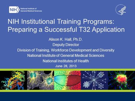 NIH Institutional Training Programs: Preparing a Successful T32 Application Alison K. Hall, Ph.D. Deputy Director Division of Training, Workforce Development.