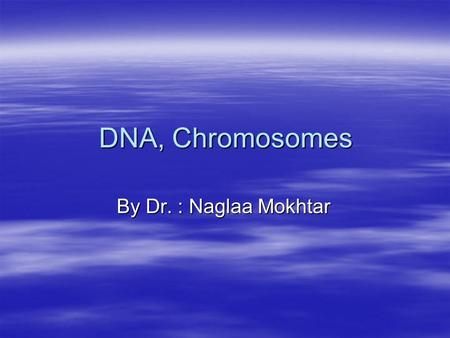 DNA, Chromosomes By Dr. : Naglaa Mokhtar. DNA Structure.
