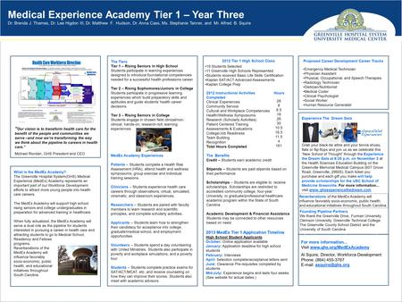 Medical Experience Academy Tier 1 – Year Three