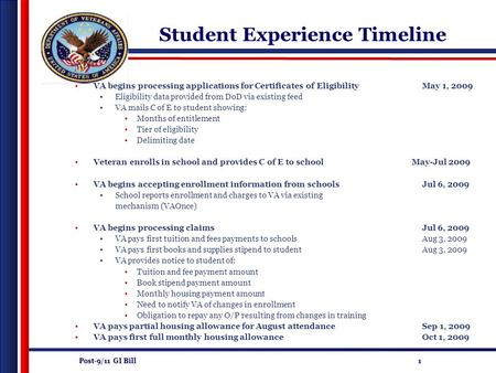 Post-9/11 GI Bill 1 Student Experience Timeline VA begins processing applications for Certificates of EligibilityMay 1, 2009 Eligibility data provided.