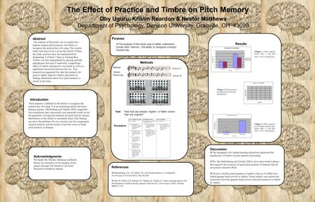 The Effect of Practice and Timbre on Pitch Memory Oby Uguru, Kristin Reardon & Nestor Matthews Department of Psychology, Denison University, Granville,