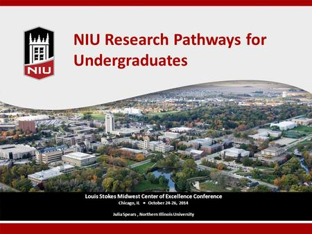 NIU Research Pathways for Undergraduates Louis Stokes Midwest Center of Excellence Conference Chicago, IL  October 24-26, 2014 Julia Spears, Northern.