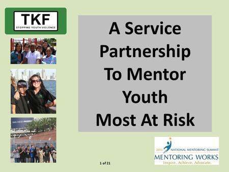 1 of 21 A Service Partnership To Mentor Youth Most At Risk.