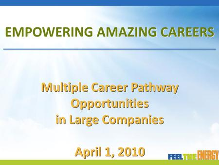 EMPOWERING AMAZING CAREERS Multiple Career Pathway Opportunities in Large Companies April 1, 2010.