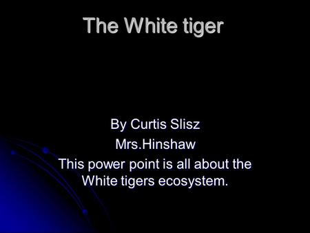 This power point is all about the White tigers ecosystem.