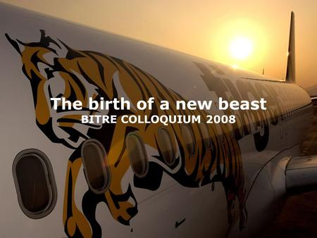 The birth of a new beast BITRE COLLOQUIUM 2008. Tiger Aviation – Overview.