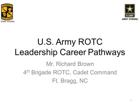 Purdue army reserve officers training corps rotc ppt video start strong us army rotc leadership career pathways mr richard brown 4 th brigade rotc toneelgroepblik Choice Image