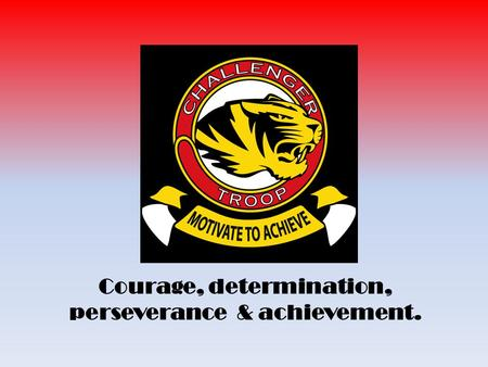 Tiger Troop March 2015 Courage, determination, perseverance & achievement.