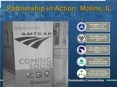 Building Sustainable Communities Partnership in Action: Moline, IL $10 million USDOT TIGER II FTA- administered grant $4.9 million in state capital funding.