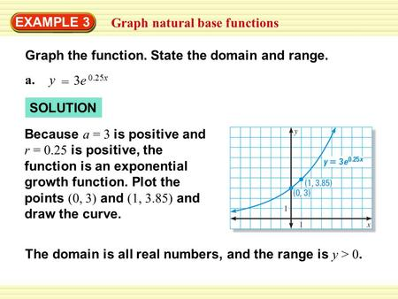 EXAMPLE 3 Graph natural base functions Graph the function. State the domain and range. a.y = 3e 0.25x SOLUTION Because a = 3 is positive and r = 0.25 is.