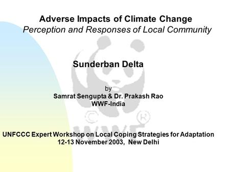 Sunderban Delta by Samrat Sengupta & Dr. Prakash Rao WWF-India UNFCCC Expert Workshop on Local Coping Strategies for Adaptation 12-13 November 2003, New.