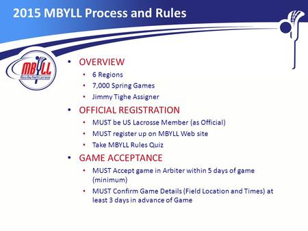 2015 MBYLL Process and Rules OVERVIEW 6 Regions 7,000 Spring Games Jimmy Tighe Assigner OFFICIAL REGISTRATION MUST be US Lacrosse Member (as Official)