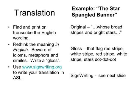 "Translation Find and print or transcribe the English wording. Rethink the meaning in English. Beware of idioms, metaphors and similes. Write a ""gloss""."