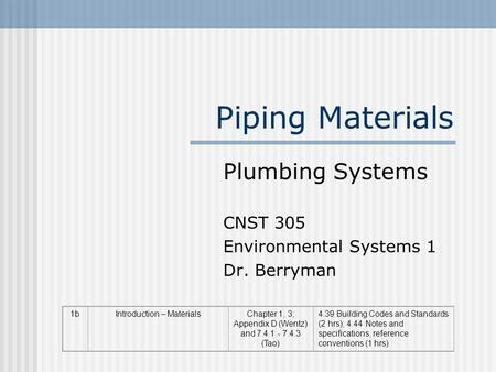 Piping Materials Plumbing Systems CNST 305 Environmental Systems 1 Dr. Berryman 1bIntroduction – MaterialsChapter 1, 3; Appendix D (Wentz) and 7.4.1 -