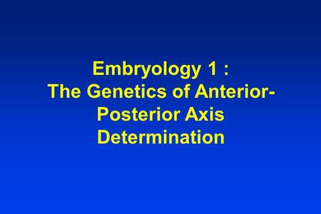 Embryology 1 : The Genetics of Anterior- Posterior Axis Determination.