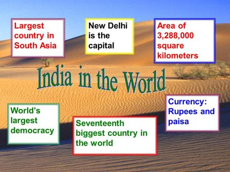 India in the World Largest country in South Asia